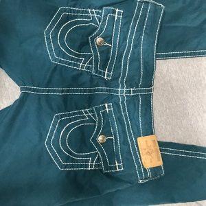 Size 34 NWOT True Religion jeans green